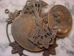 These Oxidized Brass Findings Are Glued Together To Make The Victorian Cameo Pendant Picture Far Right