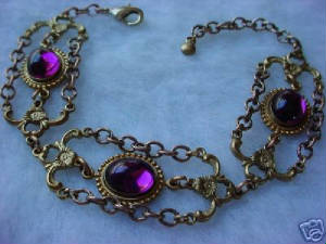 A Victorian Design Bracelet Using Our Old Brass Jeweled Connectors, Hand Oxidized 4 Ring Connectors And Hand Oxidized Vintage Chain. The Cabochons Are 10x8 Vintage Swarovski Crystal Amethyst.