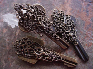 Vintage Keys Wrapped With Our Old French Lace Filigrees