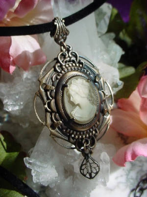 "Oxidized Brass ""Stacked Setting"" With Vintage Cameo"