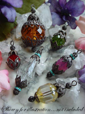 Examples Of Czech Glass Beads With Hand Oxidized Brass Bead Caps