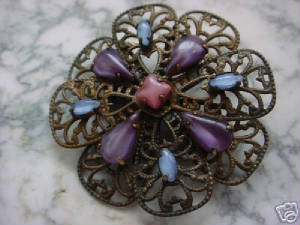 This Flower Brooche Was Created By Stacking Four Hand Oxidized Bow Shape Filigrees (They Can Be Glued Or Wire Wrapped Together) And Embellished With Vintage Moonstones In Oxidized Brass Settings