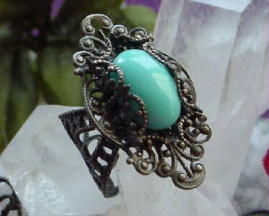 A Filigree Wrapped Turquoise Ring