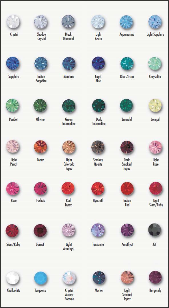 Swarovski Crystal Color Charts